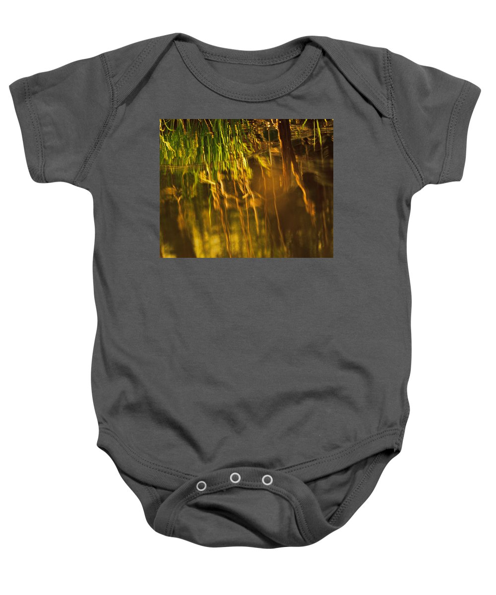 Abstract Baby Onesie featuring the photograph Reflecting On A Summer Morn by Susan Capuano