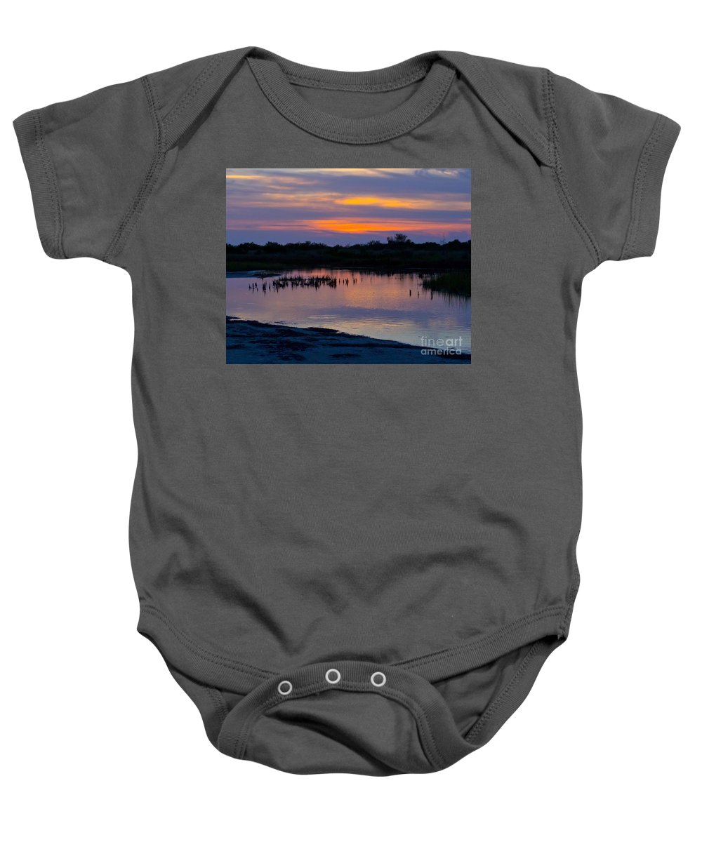 Sunset Baby Onesie featuring the photograph Reflection Of The Sunset by Stephen Whalen