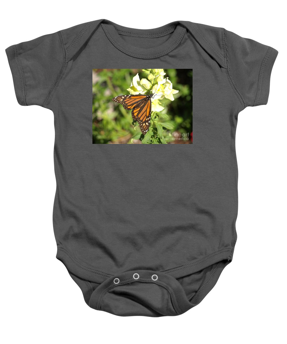 Butterfly Baby Onesie featuring the photograph Monarch Butterfly Feeding On A Cluster Of Yellow Flowers by Jessica Foster