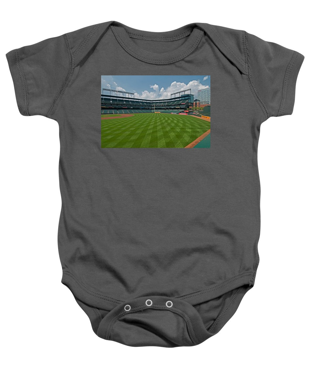 Oriole Park Baby Onesie featuring the photograph Right To Left At Oriole Park by Paul Mangold