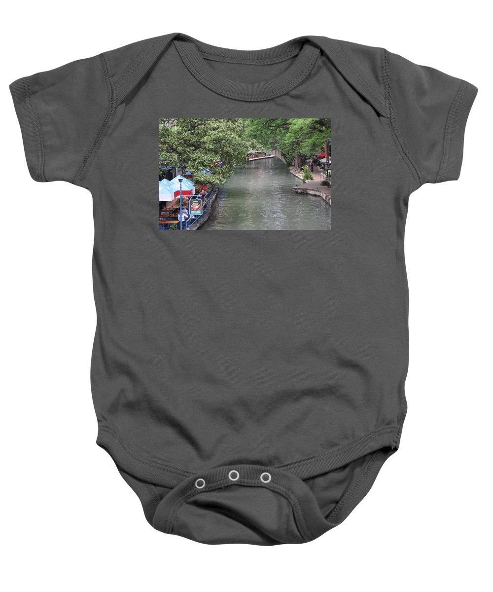 Riverwalk Baby Onesie featuring the photograph Riverwalk San Antonio by Terry Fleckney