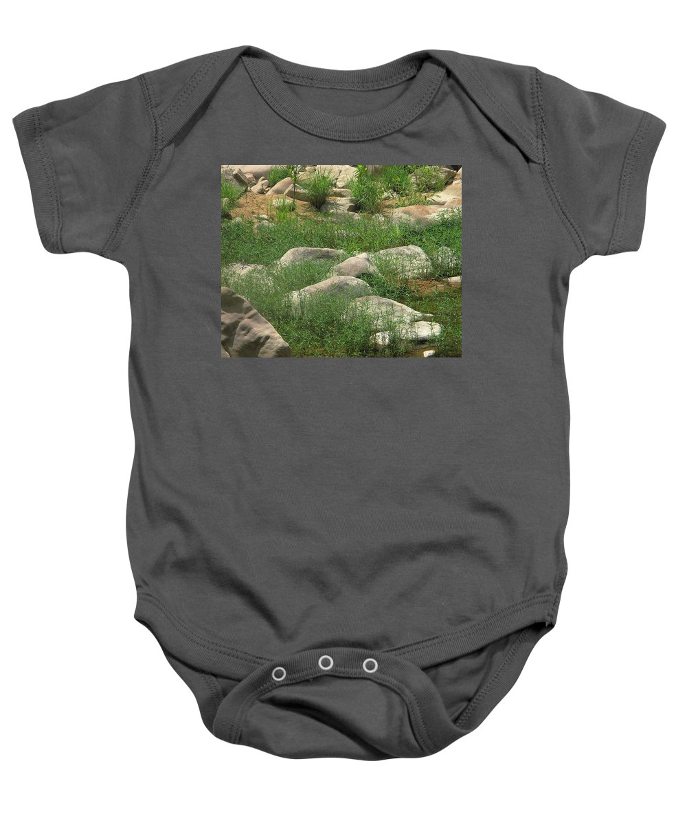 Grass Baby Onesie featuring the photograph Rocks And Grass At Amidon Conservation Area Missouri by Greg Matchick