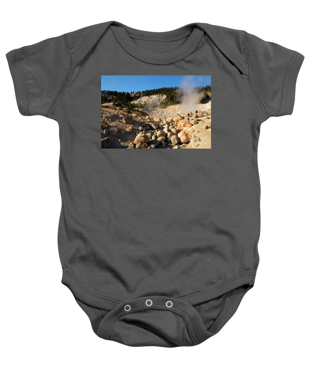 Lassen Volcanic National Park Baby Onesie featuring the photograph Rocky Fumarole by Adam Jewell