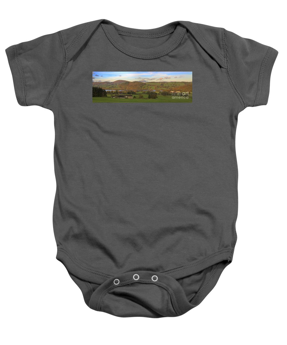 Roe House Baby Onesie featuring the photograph Roe House Overlooks Ullswater Near Pooley Bridge In The Lake District by Louise Heusinkveld