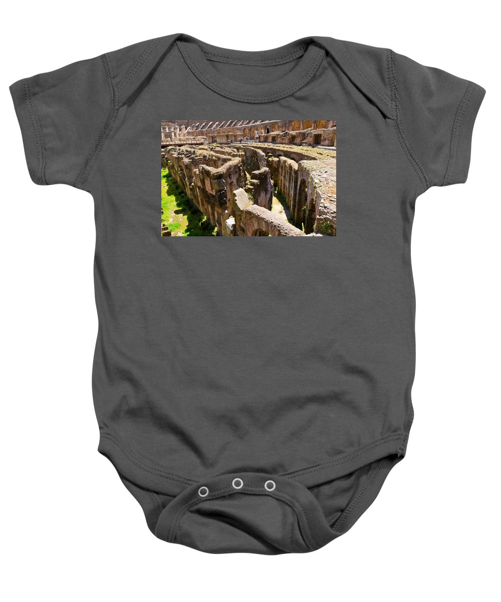 Rome Baby Onesie featuring the photograph Roman Coliseum Underground by Jon Berghoff