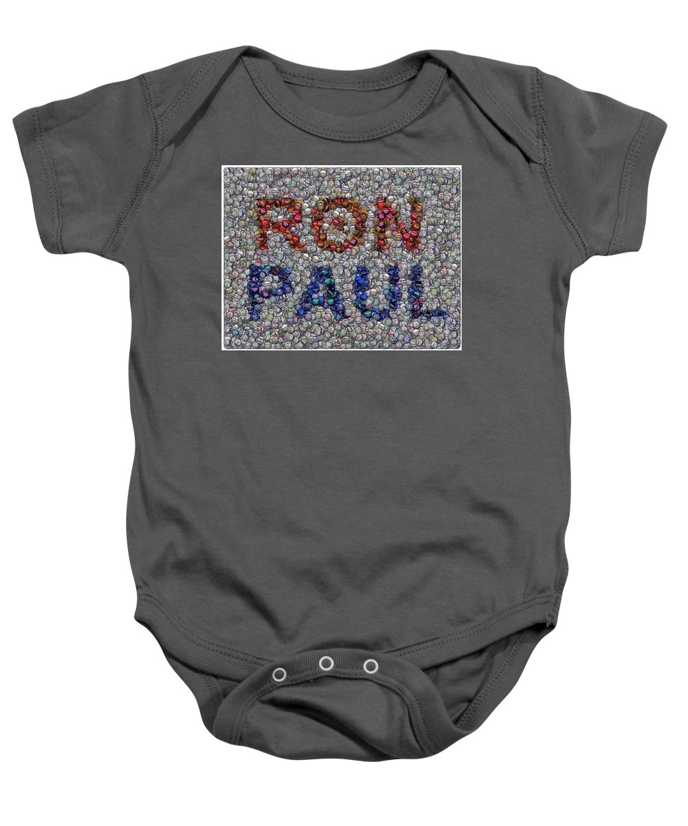 Ron Paul Baby Onesie featuring the mixed media Ron Paul Button Mosaic by Paul Van Scott