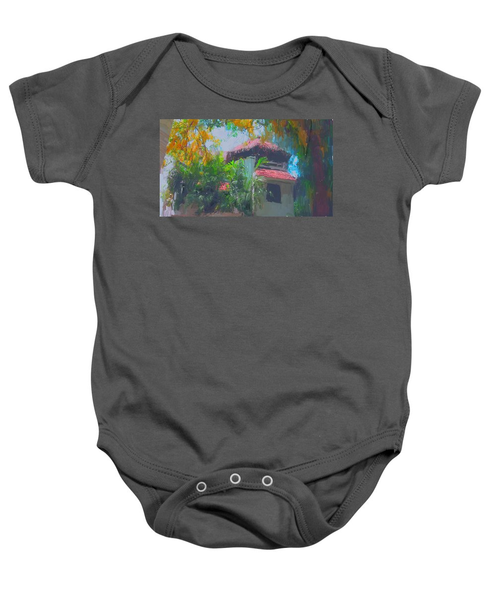 Roof Top Baby Onesie featuring the painting Roof Top by Usha Shantharam