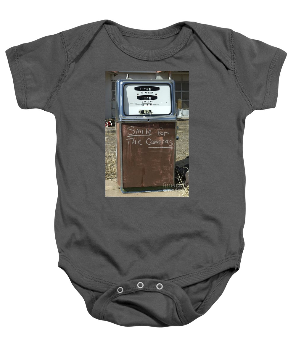 Wurlitzer Baby Onesie featuring the photograph Route 66 Gas Pump Humor by Bob Christopher
