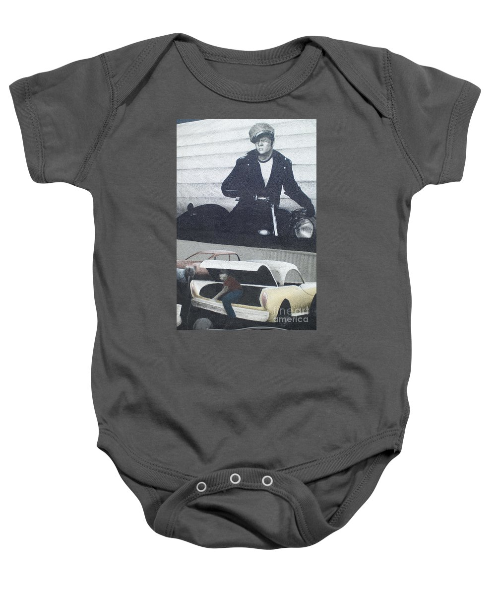 Wurlitzer Baby Onesie featuring the photograph Route 66 Marlon Brando Mural by Bob Christopher