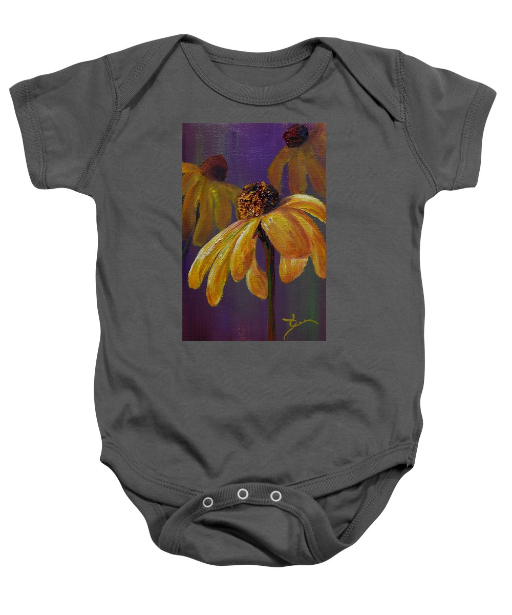 Rubekia Baby Onesie featuring the painting Rubekia by Dee Carpenter