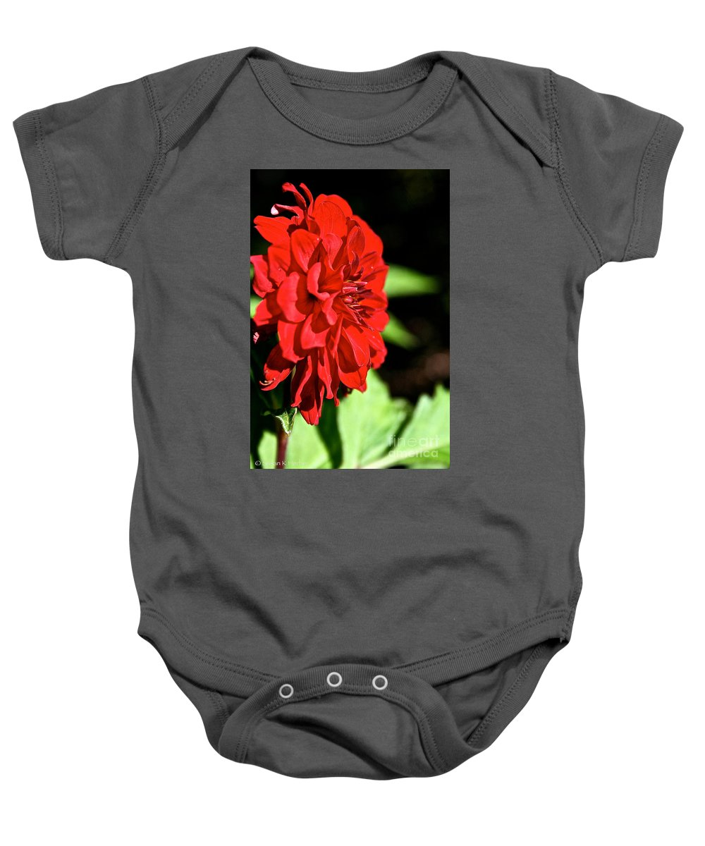Plant Baby Onesie featuring the photograph Ruby Red Dahlia by Susan Herber