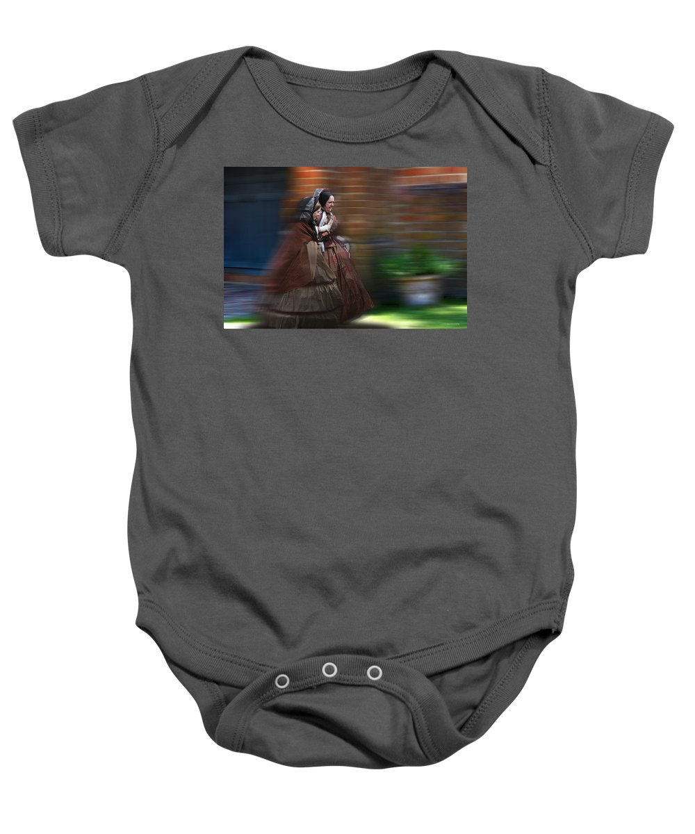 Victorian Baby Onesie featuring the photograph Running Late by Ron Jones