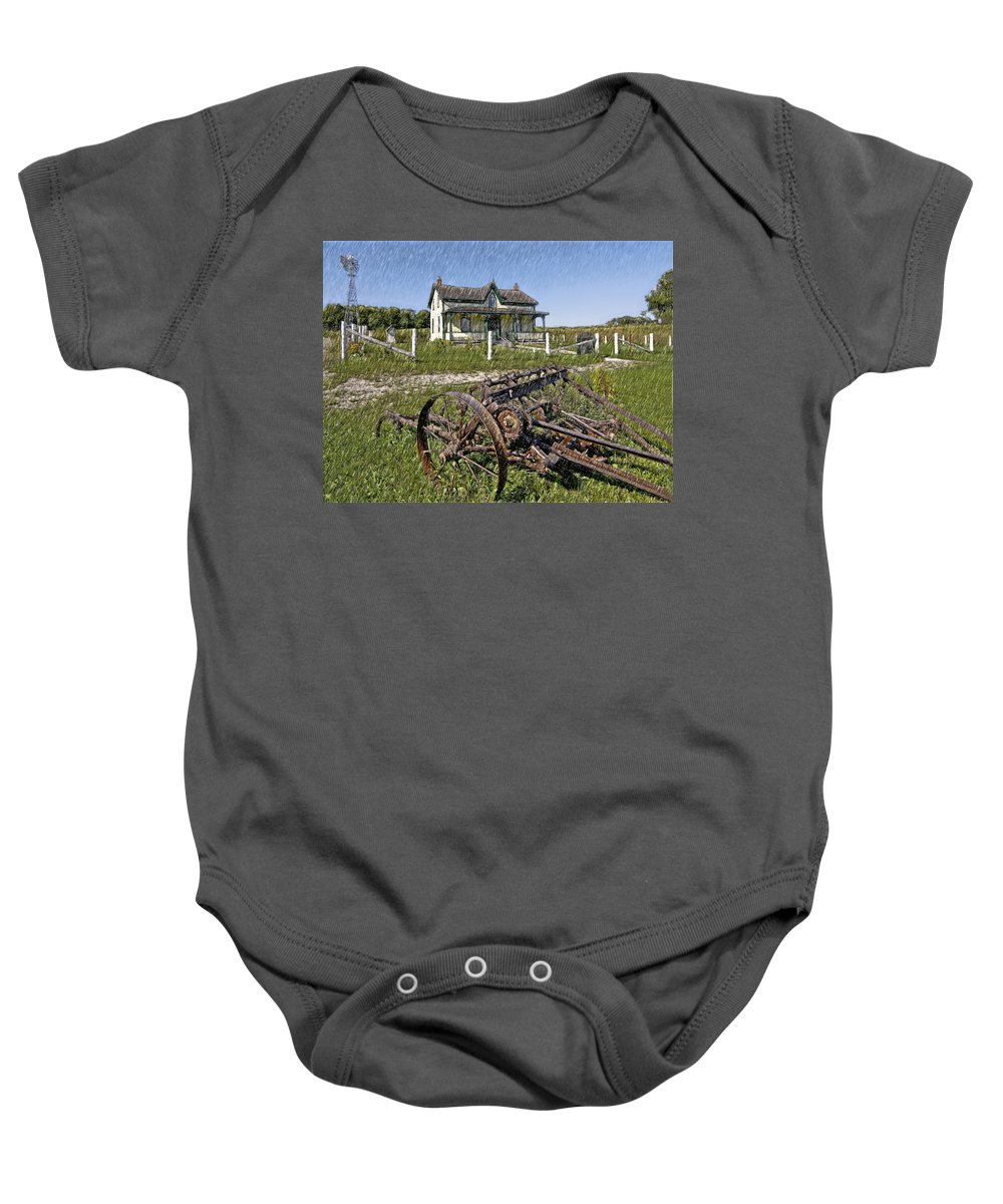 Grey Roots Museum & Archives Baby Onesie featuring the photograph Rural Ontario Sketch by Steve Harrington