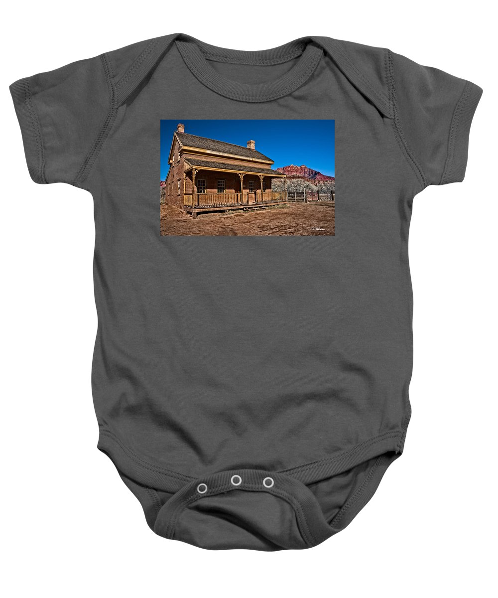 Structure Baby Onesie featuring the photograph Russell Home by Christopher Holmes