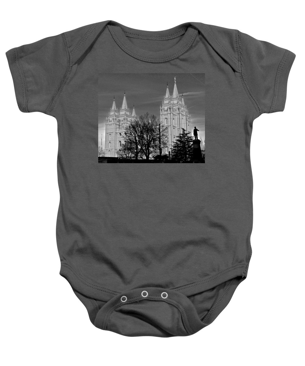 Temple Baby Onesie featuring the photograph Salt Lake Temple by Eric Tressler