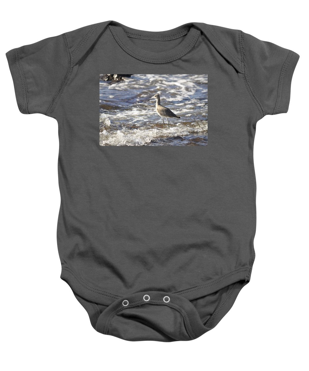 Sandpiper Baby Onesie featuring the photograph Sandpiper In The Surf by Christine Stonebridge
