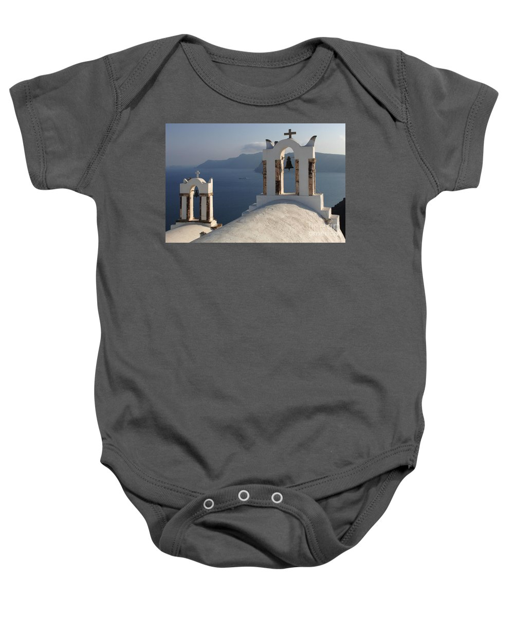 Greece Baby Onesie featuring the photograph Santorini Churches by Bob Christopher