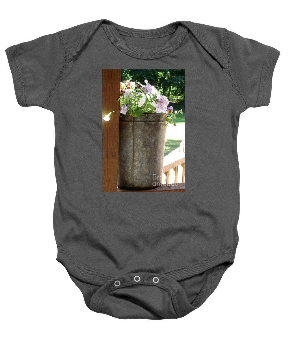 Flowers Baby Onesie featuring the photograph Sap Bucket Planter by Kerri Mortenson