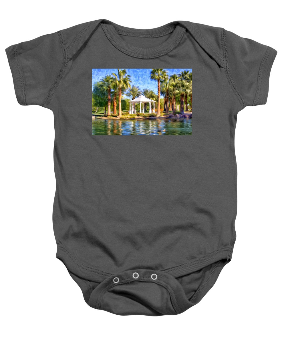 Saturday Baby Onesie featuring the painting Saturday In The Park by Dominic Piperata