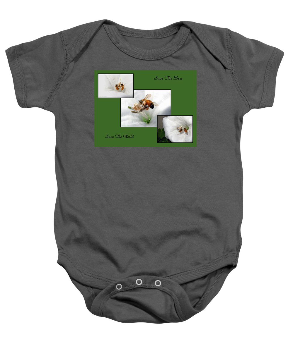 Bee Baby Onesie featuring the photograph Save The Bees Save The World by Joyce Dickens