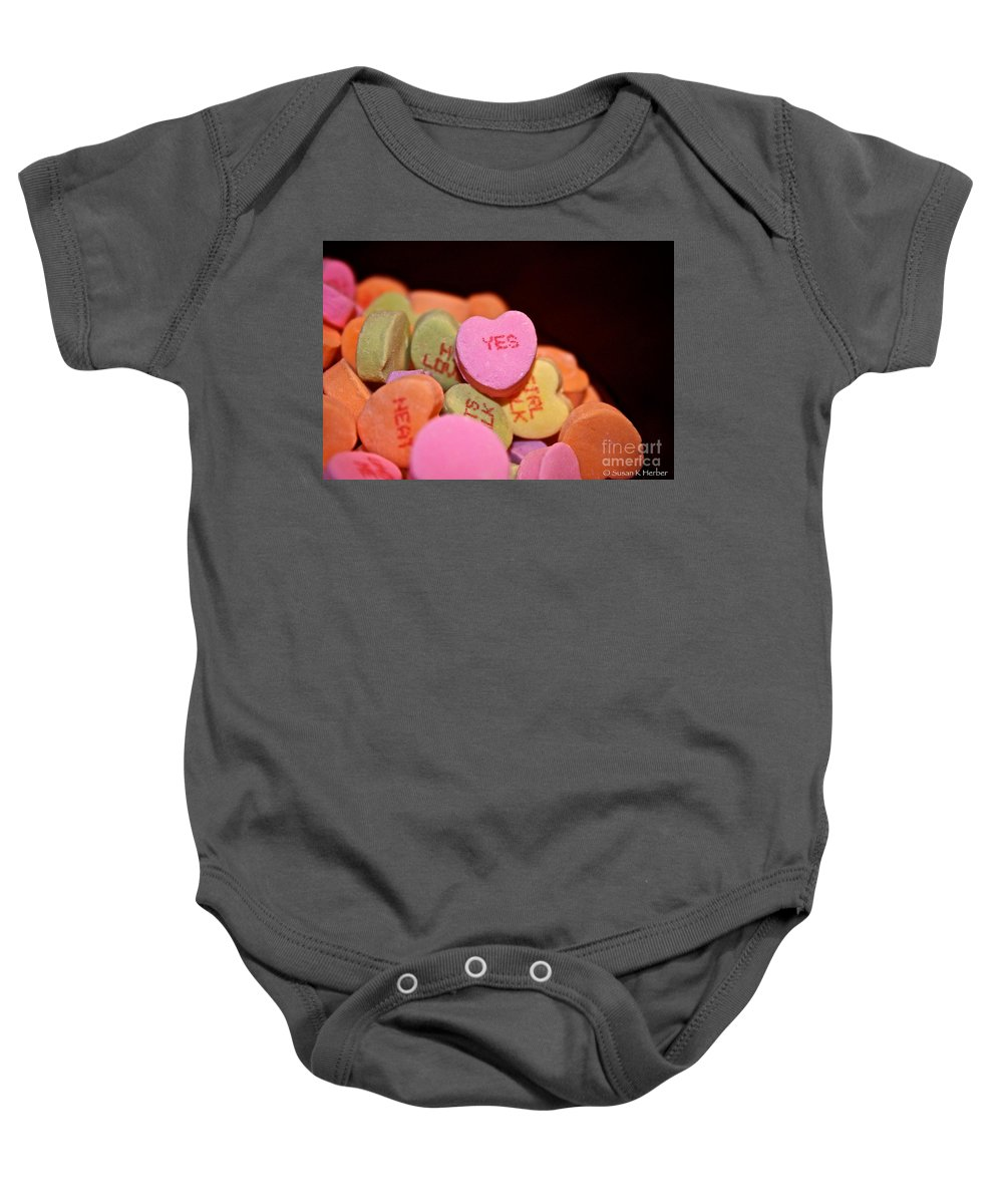 Candy Baby Onesie featuring the photograph Say Yes by Susan Herber