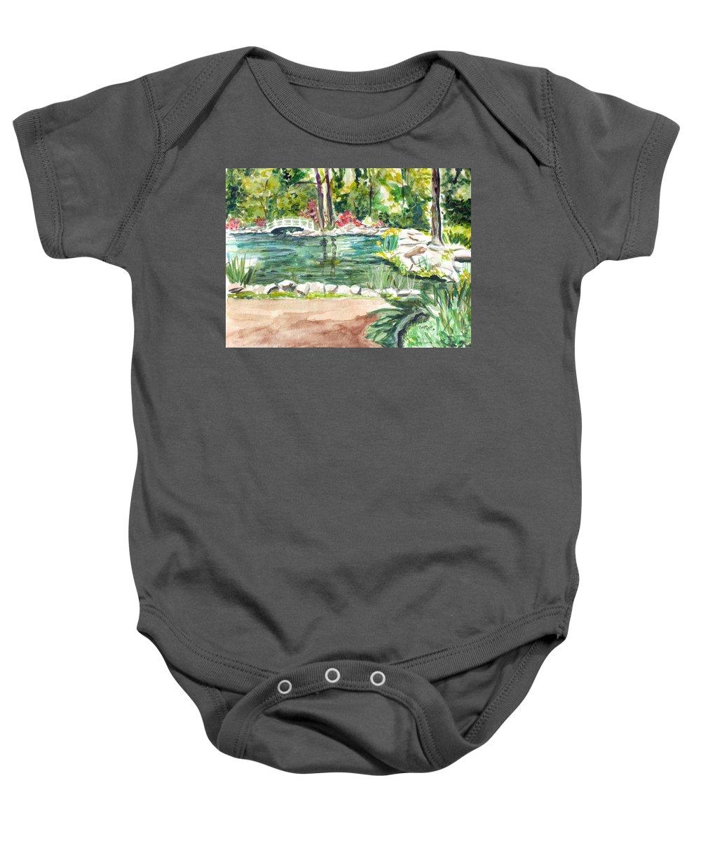 Pond Baby Onesie featuring the painting Sayen Pond by Clara Sue Beym
