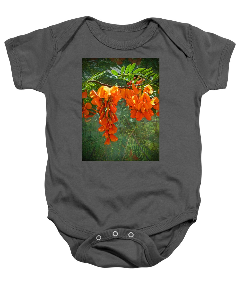 Rattlebox Baby Onesie featuring the photograph Scarlet Wisteria Tree - Sesbania Punicea by Mother Nature
