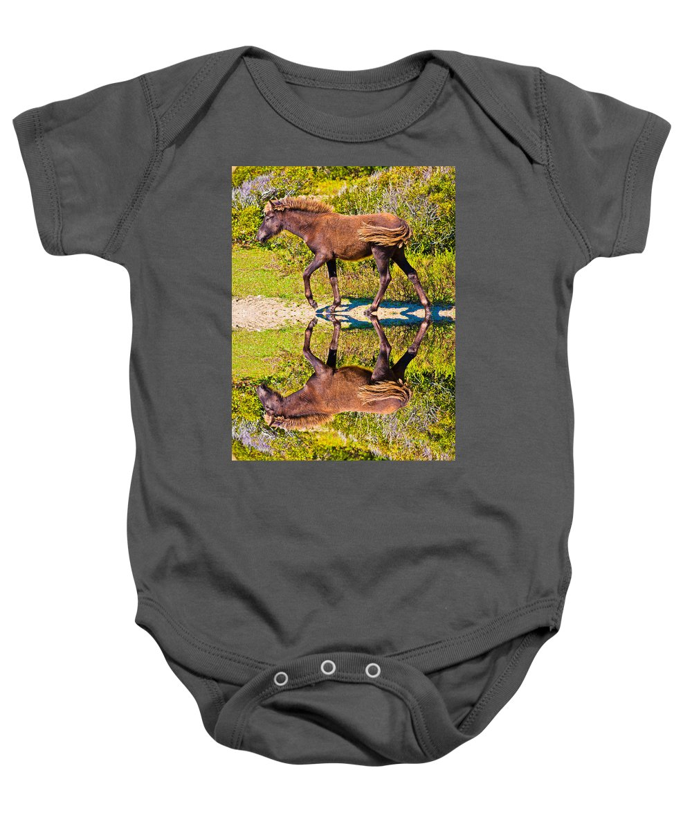 Shackleford Baby Onesie featuring the digital art Selena by Betsy Knapp