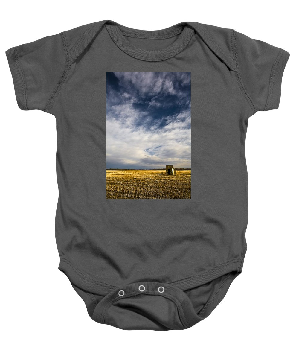 Alberta Baby Onesie featuring the photograph Shack In Field by Steve Nagy
