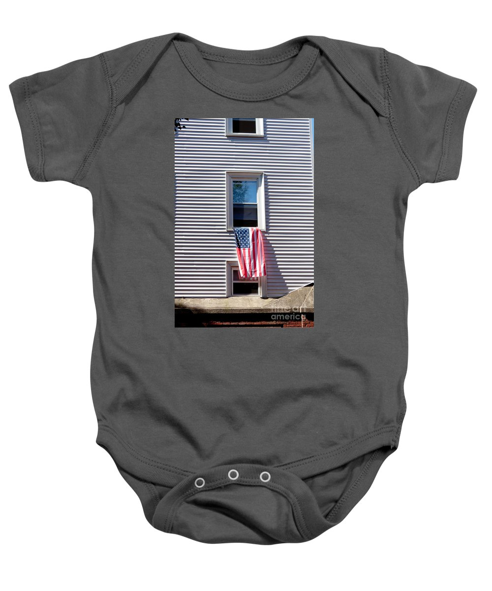 Architecture Baby Onesie featuring the photograph Showing The Flag by Thomas Marchessault
