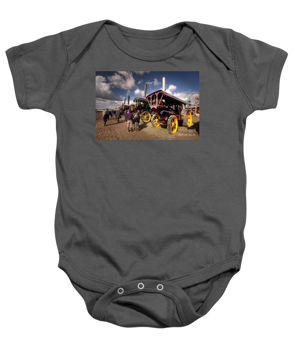 Showmans Baby Onesie featuring the photograph Showmans Engines At Dorset by Rob Hawkins