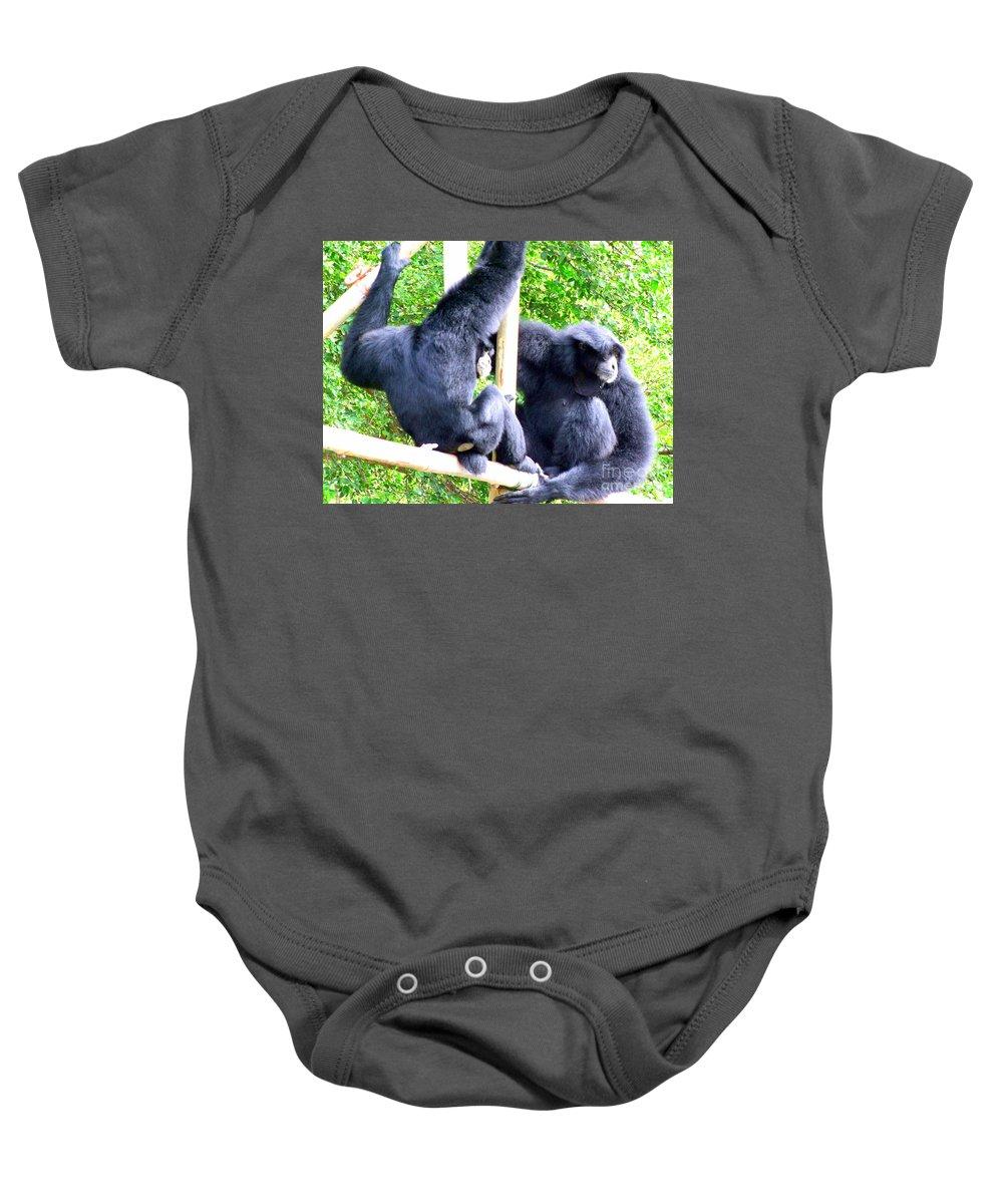 Monkeys Baby Onesie featuring the photograph Siamang Gibbons by Mary Deal