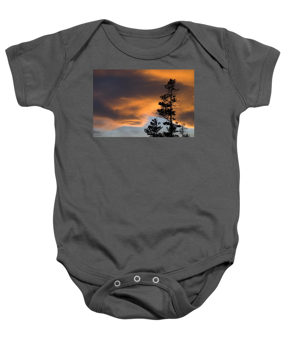 Beauty In Nature Baby Onesie featuring the photograph Silhouetted Tree At Sunset by Philippe Widling