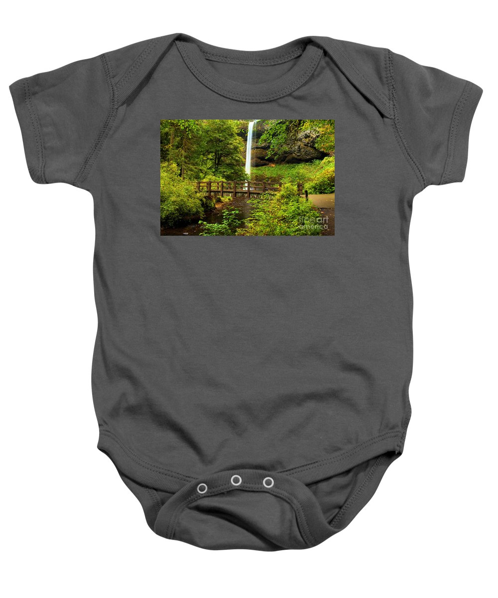 Silver Falls Baby Onesie featuring the photograph Silver Falls Bridge by Adam Jewell