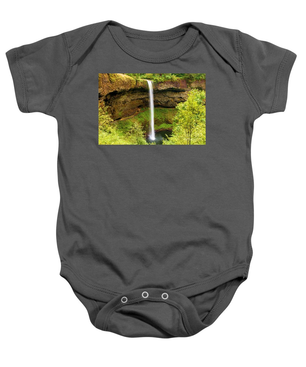 Silver Falls State Park Baby Onesie featuring the photograph Silver Falls South Falls by Adam Jewell
