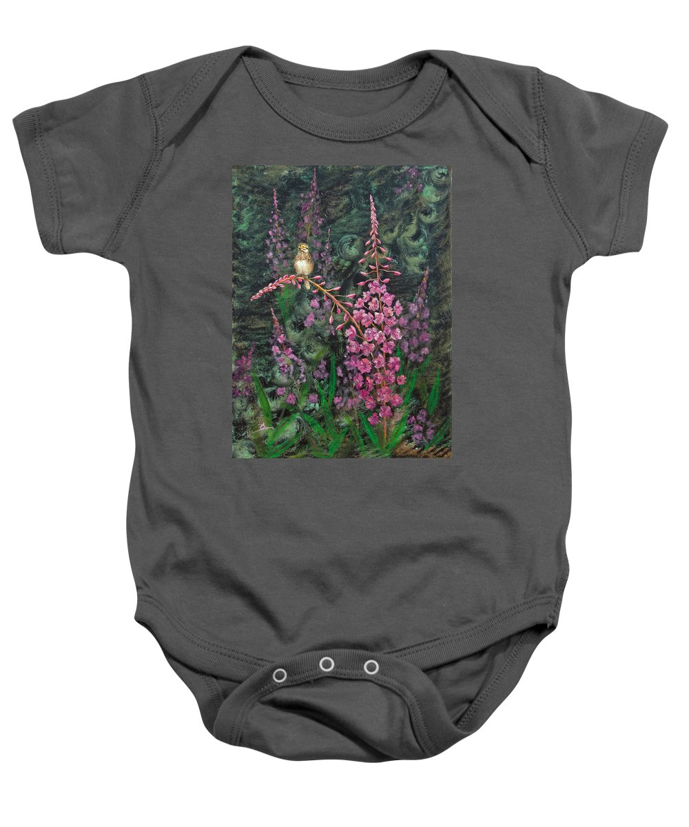Fireweed Baby Onesie featuring the painting Sittin' Pretty by Dee Carpenter