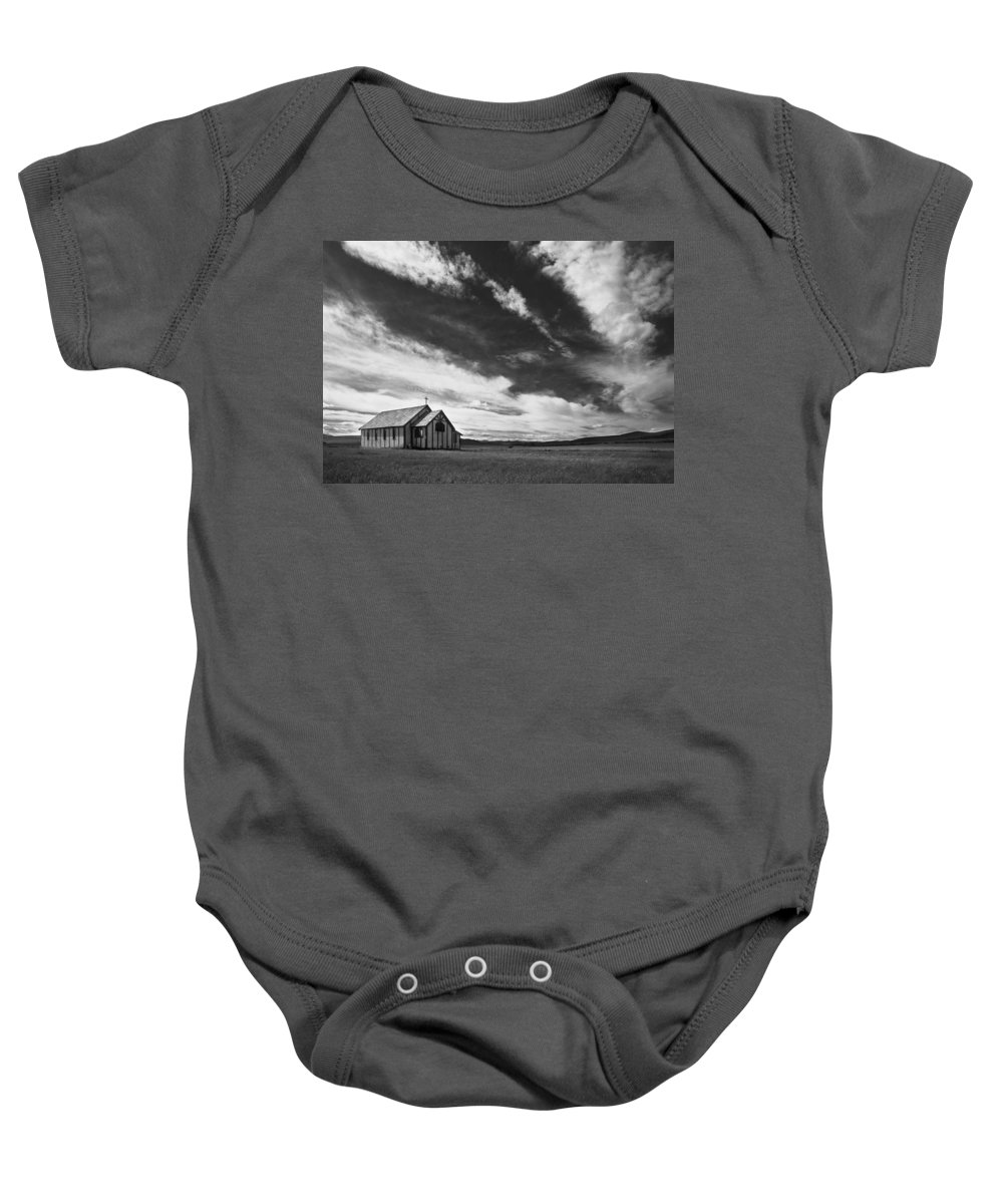 Field Baby Onesie featuring the photograph Small Country Church In Grass Field In by Darren Greenwood