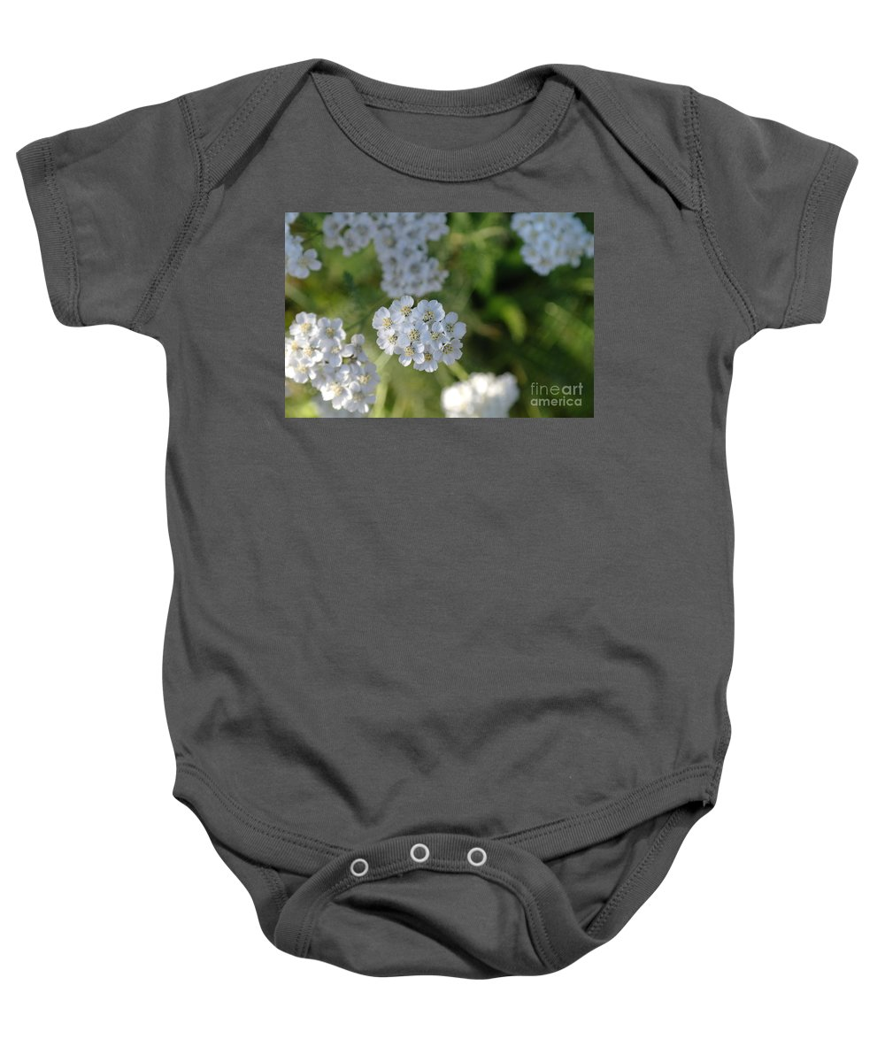 White Flowers Baby Onesie featuring the photograph Small White Wildflowers by Jeff Swan
