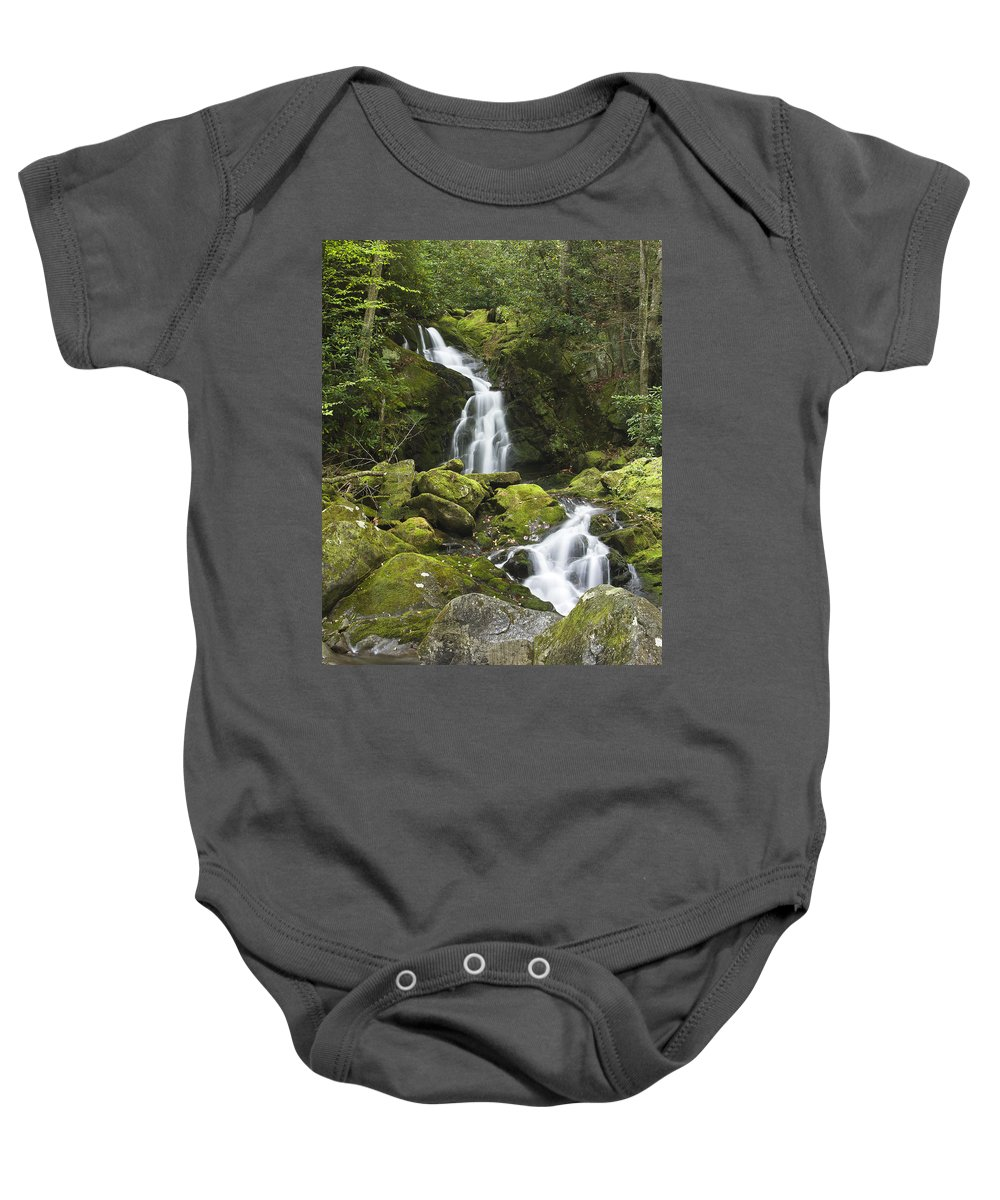 Mouse Creek Falls Baby Onesie featuring the photograph Smoky Mountain Waterfall - Mouse Creek Falls by Bill Swindaman