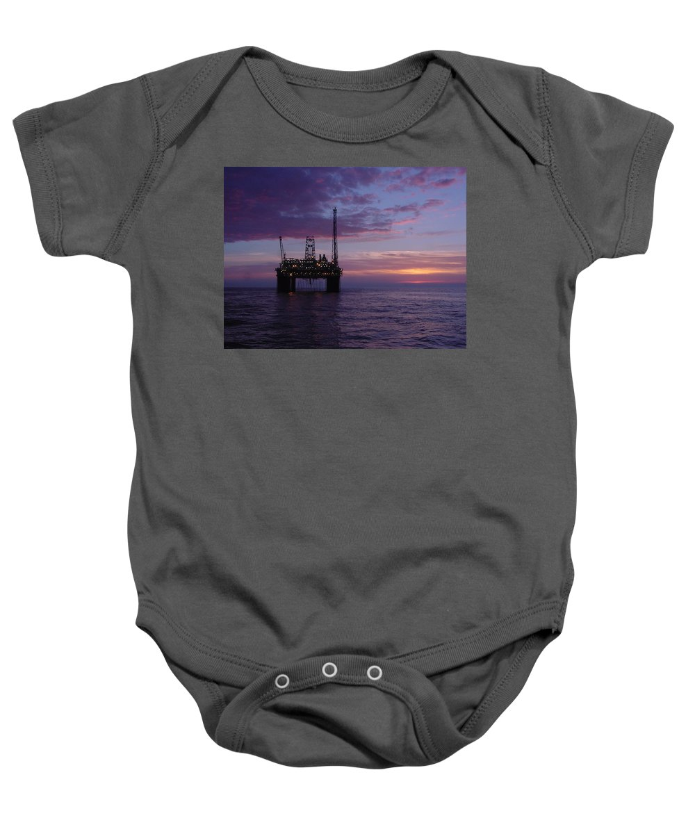 Platform Baby Onesie featuring the photograph Snorre Sunset by Charles and Melisa Morrison