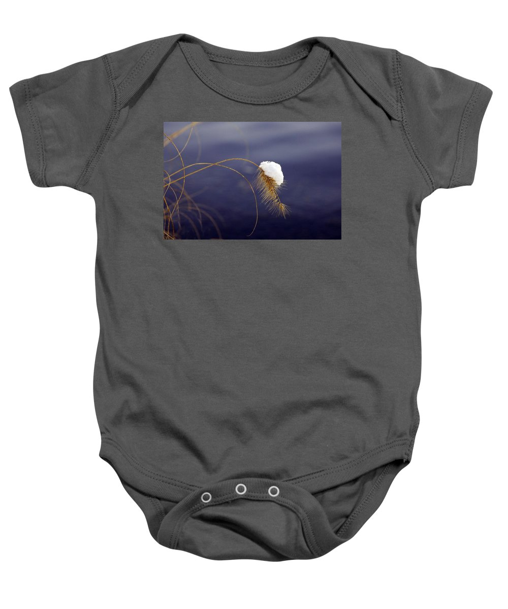 Snow Baby Onesie featuring the photograph Snow Weed by Francesa Miller