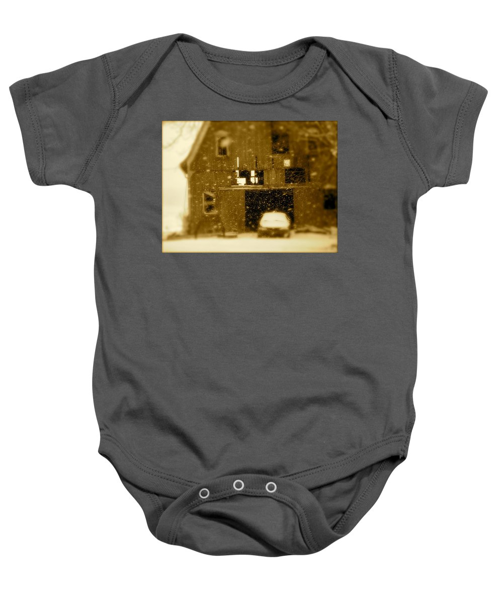 Landscape Baby Onesie featuring the photograph Snowflakes by Arthur Barnes