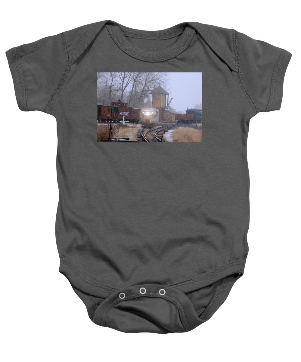 Steam Train Photographs Baby Onesie featuring the photograph Snows A Coming by Ken Smith