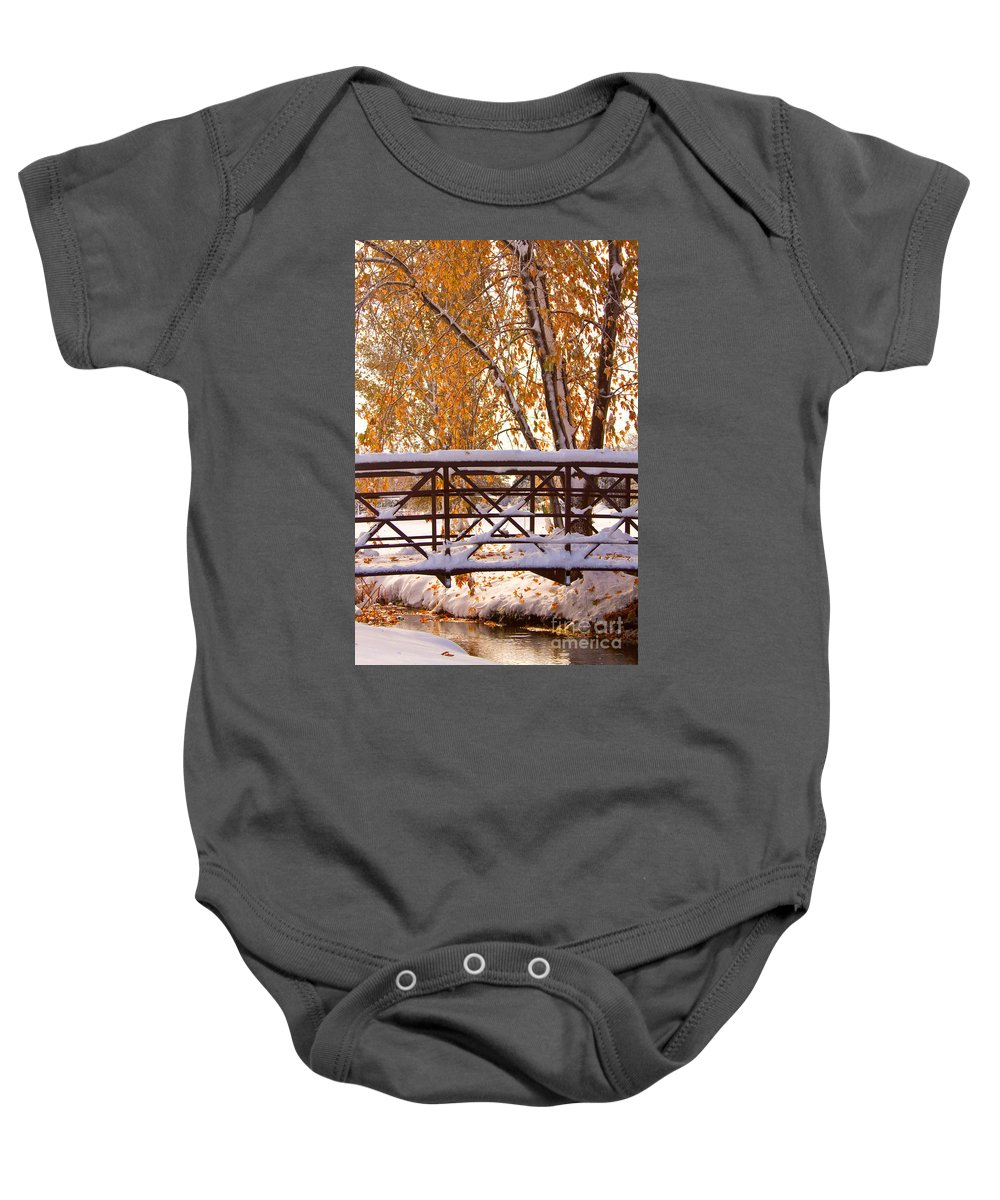 Autumn Baby Onesie featuring the photograph Snowy Autumn Walking Bridge by James BO Insogna