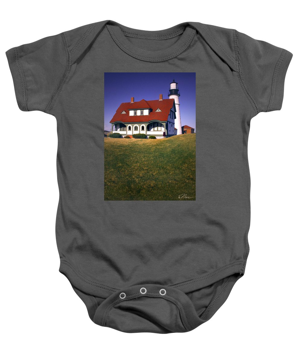 South_portland_ Lighthouse Baby Onesie featuring the photograph South Portland Lighthouse by Nancy Griswold