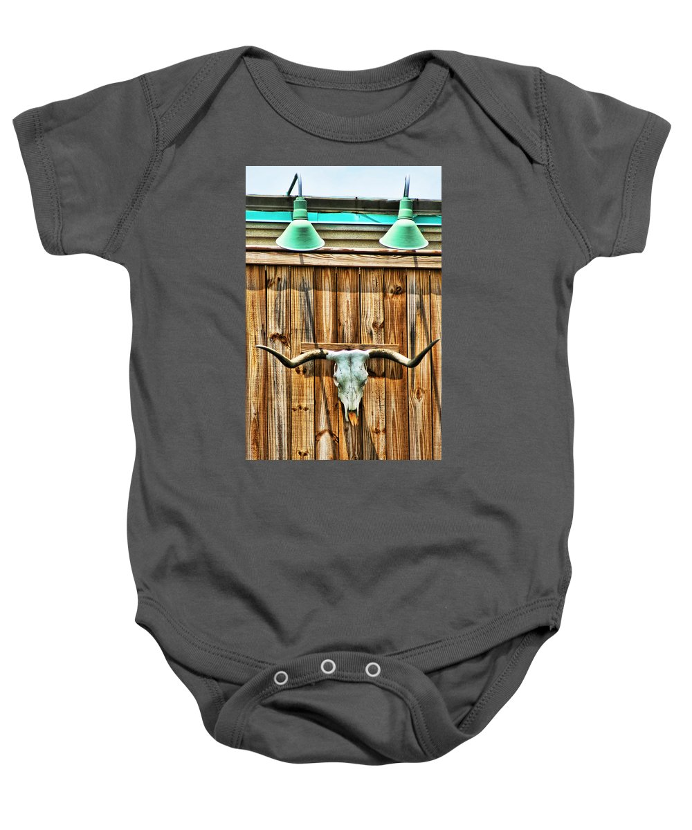 Longhorn Baby Onesie featuring the photograph Southwestern Longhorn Skull by Kathy Clark