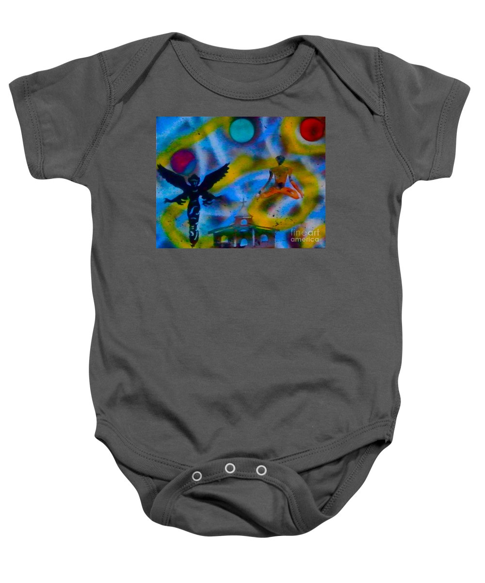 Graffiti Baby Onesie featuring the painting Spirit World by Tony B Conscious