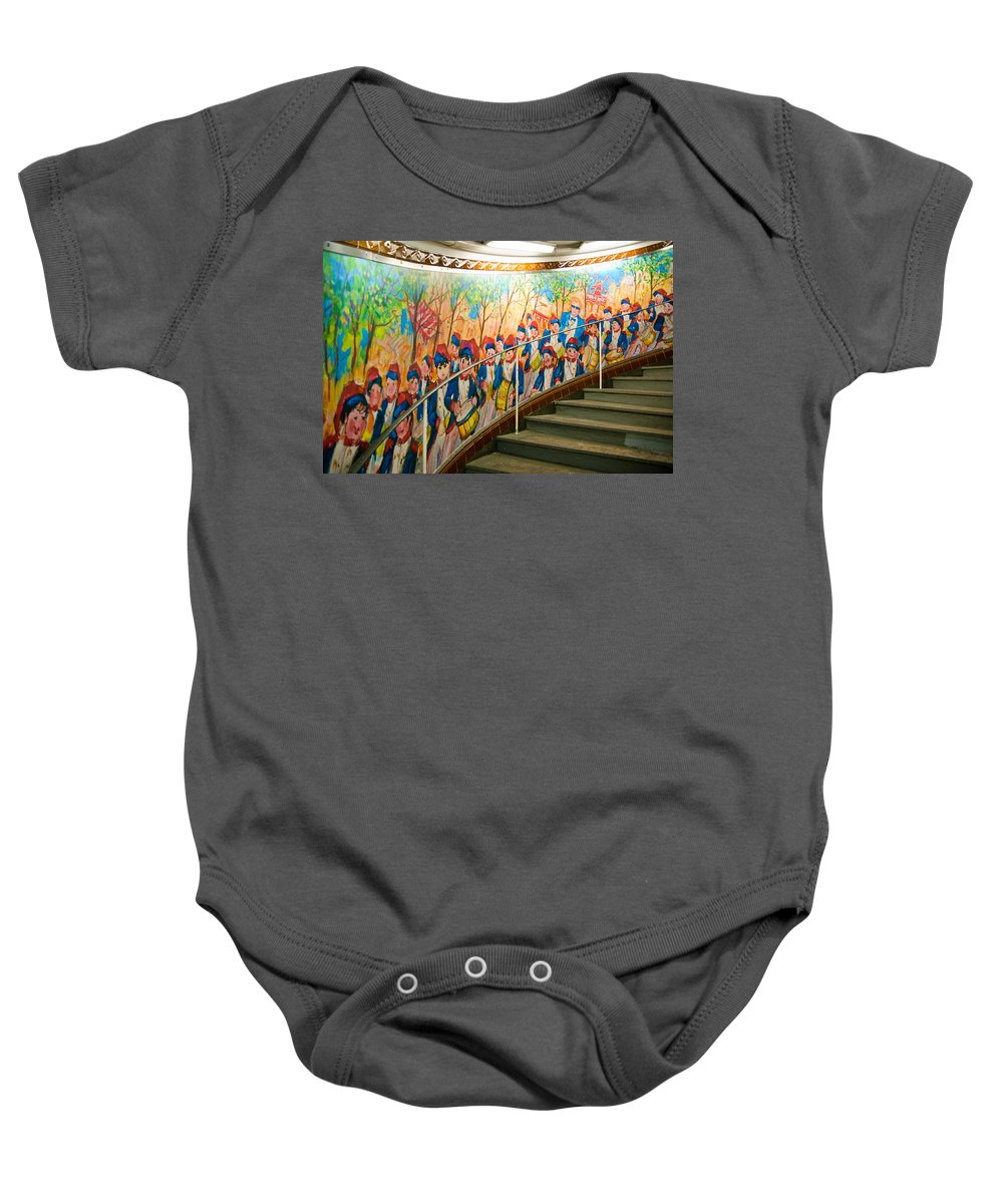 France Baby Onesie featuring the photograph Stairway Mural At Montmartre Metro Exit by Jon Berghoff