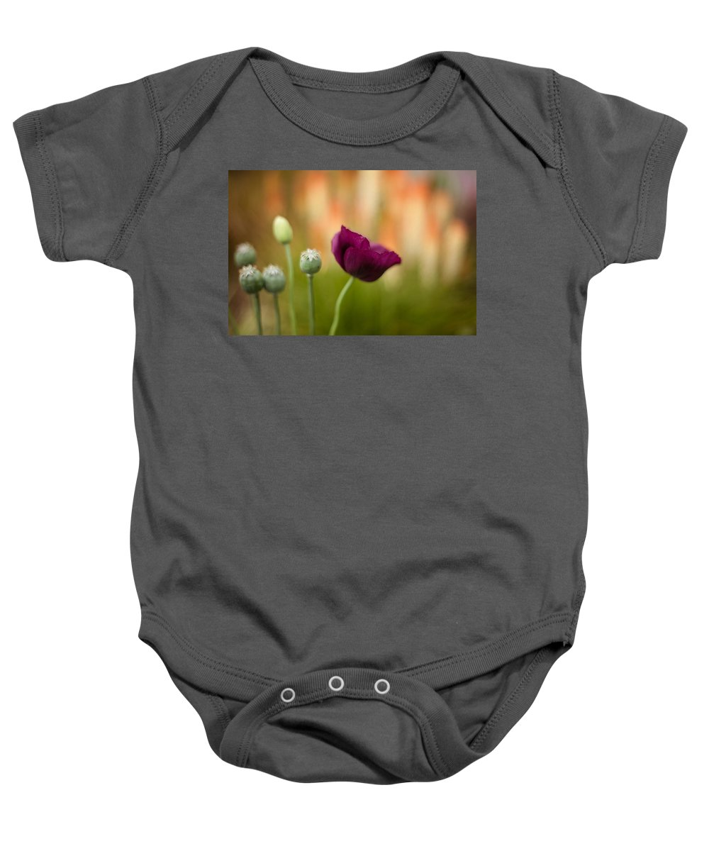 Flower Baby Onesie featuring the photograph Stark Poppies by Mike Reid