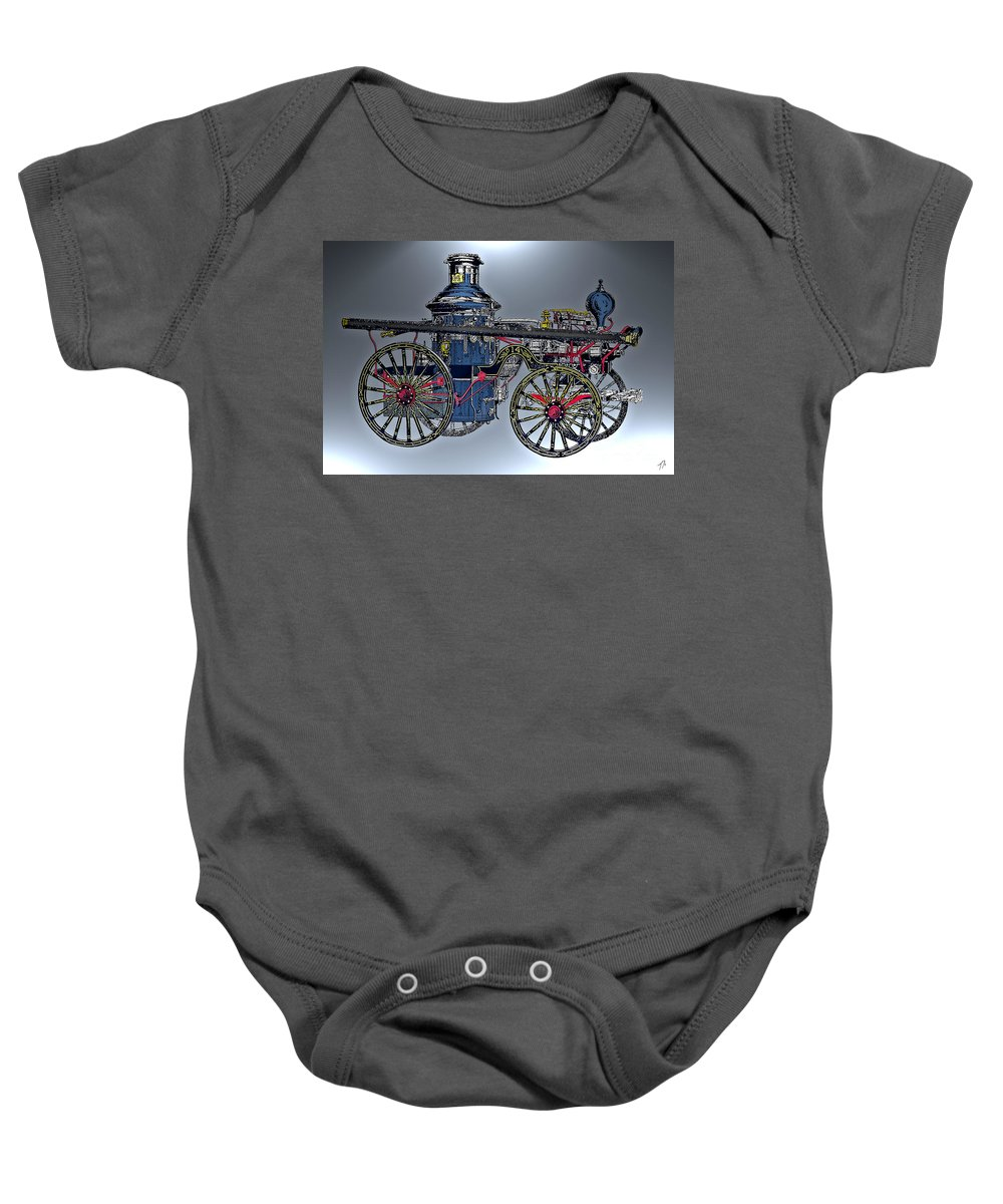 Steamer Baby Onesie featuring the digital art Steamer No 14 by Tommy Anderson